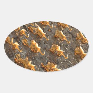 Metal de fusión abstracto pegatina ovalada