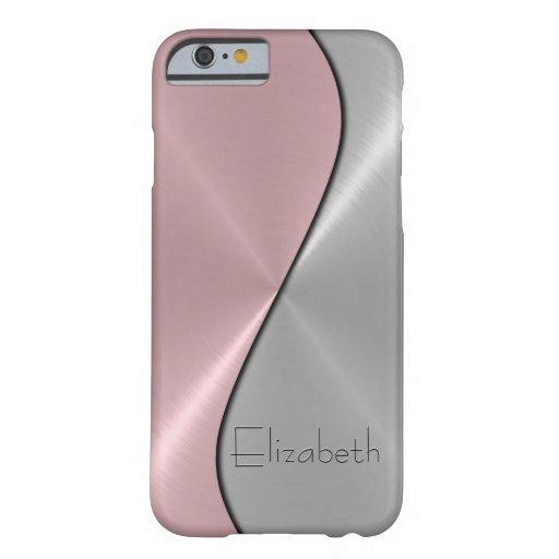 Metal de la plata y del acero inoxidable del rosa funda de iPhone 6 barely there