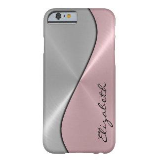 Metal de la plata y del acero inoxidable del rosa funda para iPhone 6 barely there