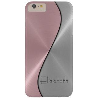 Metal de la plata y del acero inoxidable del rosa funda para iPhone 6 plus barely there