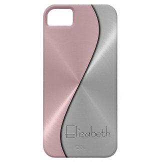 Metal de la plata y del acero inoxidable del rosa iPhone 5 fundas