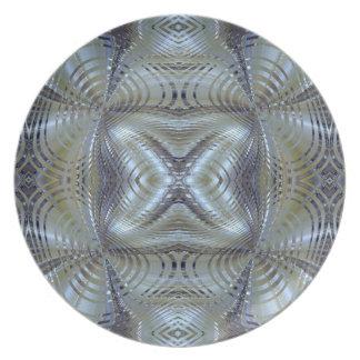 Metal de plata y azul plato