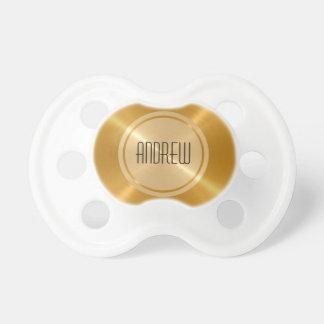 Metal del acero inoxidable del botón del oro chupetes para bebes