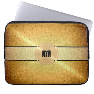 Metal del acero inoxidable del oro y botón brillan funda ordendadores