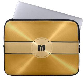 Metal del acero inoxidable del oro y botón brillan manga portátil