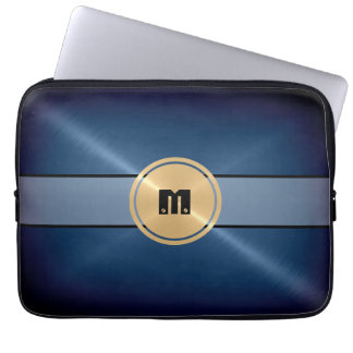 Metal del acero inoxidable y botón brillantes azul fundas portátiles