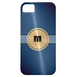 Metal del acero inoxidable y botón brillantes funda para iPhone 5 barely there