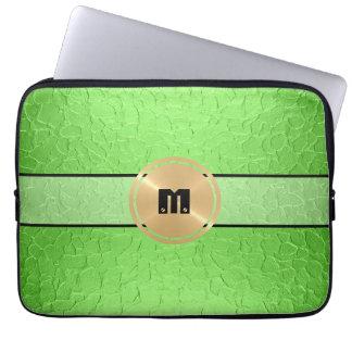 Metal del acero inoxidable y botón brillantes verd funda computadora