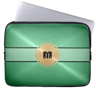 Metal del acero inoxidable y botón brillantes verd fundas computadoras