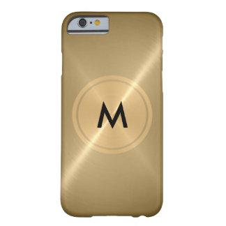 Metal del botón del oro y de bronce del acero funda para iPhone 6 barely there