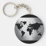 Metal del mapa del mundo llavero redondo tipo pin