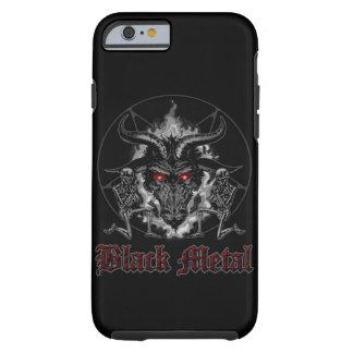 Metal del negro del Pentagram de Baphomet Funda Para iPhone 6 Tough