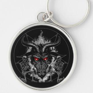 Metal del negro del Pentagram de Baphomet Llavero Redondo Plateado