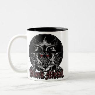 Metal del negro del Pentagram de Baphomet Taza Dos Tonos