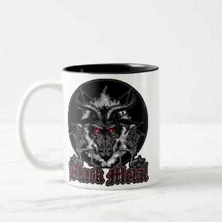 Metal del negro del Pentagram de Baphomet Taza De Dos Tonos