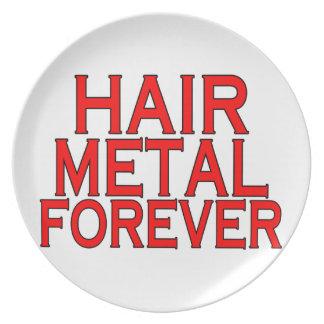 Metal del pelo para siempre platos