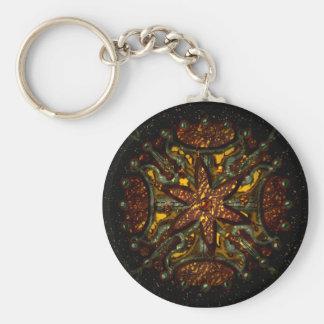Metal Design Basic Round Button Keychain