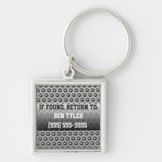 Metal Design Lost and Found Keychain Silver-Colored Square Keychain