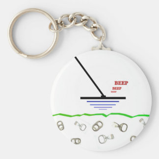 Metal Detecting Basic Round Button Keychain