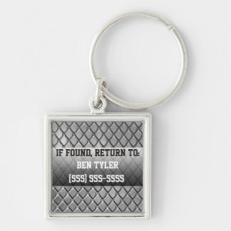 Metal Diamond Design Lost and Found Keychain Silver-Colored Square Keychain