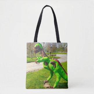 metal dinosaur trex in park photo tote bag
