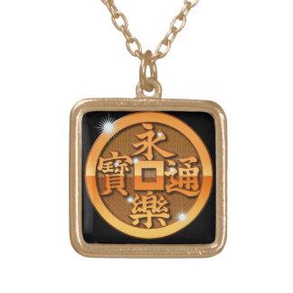 Metal Eiraku-sen Square Pendant Necklace