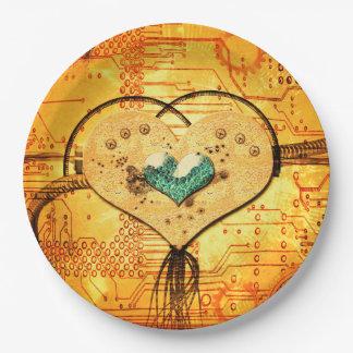 Metal el corazón con los tubos, los conductos y plato de papel de 9 pulgadas
