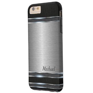 Metal elegante del acero inoxidable con cuero funda de iPhone 6 plus tough