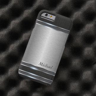 Metal elegante del acero inoxidable con cuero funda de iPhone 6 tough