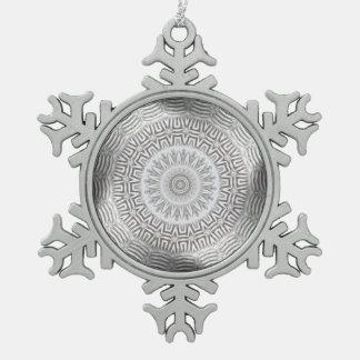 METAL Element Kaleido Pattern Snowflake Pewter Christmas Ornament