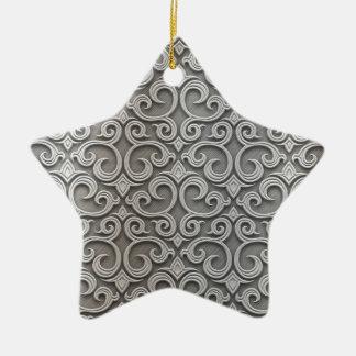 Metal embroidering ceramic ornament
