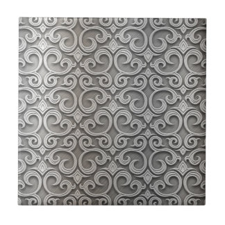Metal embroidering ceramic tile