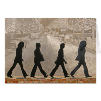 Metal Figures in Front Of Painted Mural ~ Abbey Rd Card