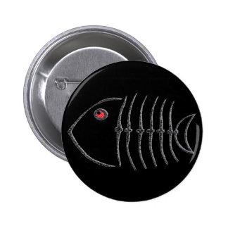 Metal Fish Bones Pinback Button