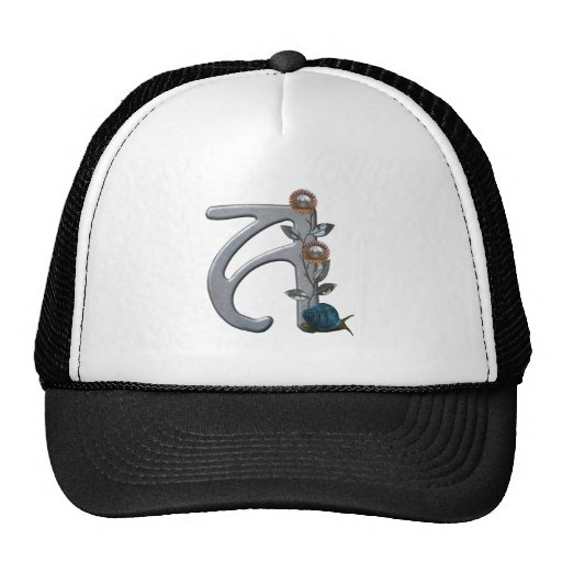 Metal Flowers Monogram A Trucker Hat
