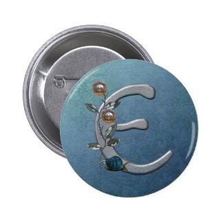 Metal Flowers Monogram D Pinback Buttons