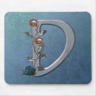 Metal Flowers Monogram D Mouse Pad
