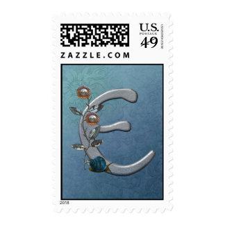 Metal Flowers Monogram E Postage Stamps