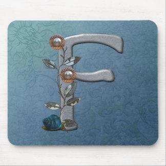 Metal Flowers Monogram F Mouse Pad