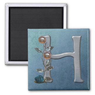 Metal Flowers Monogram H 2 Inch Square Magnet