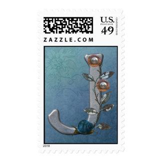 Metal Flowers Monogram J Postage Stamps