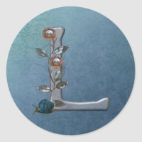 Metal Flowers Monogram L Classic Round Sticker