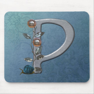 Metal Flowers Monogram P Mouse Pad