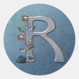 Metal Flowers Monogram R Classic Round Sticker