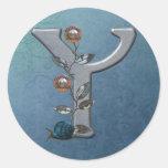 Metal Flowers Monogram Y Round Sticker