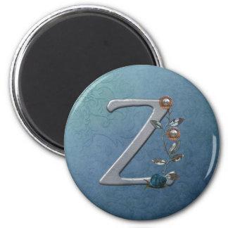 Metal Flowers Monogram Z 2 Inch Round Magnet