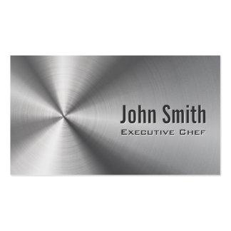 Metal fresco del acero inoxidable del cocinero tarjetas de visita