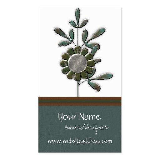 Metal Garden Modern Floral Design 3 Business Cards