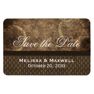 Metal Gears Save the Date Flexi Magnet, Brown Rectangular Photo Magnet