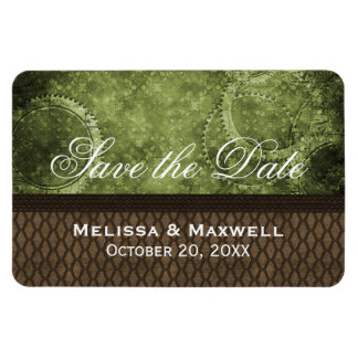 Metal Gears Save the Date Flexi Magnet, Green Magnet